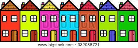 A Row Of Colourful Cartoon Homes And Houses.
