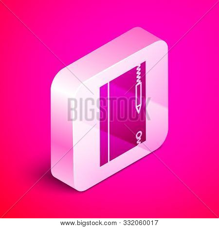 Isometric Underwater Note Book And Pencil For Snorkeling Icon Isolated On Pink Background. Water Wri