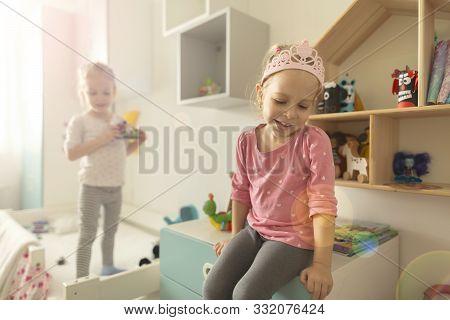 Sisters Playing At Home Fun