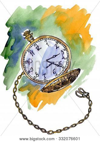 Hand Drawn Vintage Postcard. A Pocket Watch On Abstract Background With Watercolor Stains