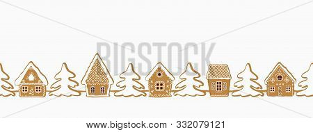 Gingerbread Village. Christmas Background. Seamless Border. There Are Gingerbread Houses And Fir Tre