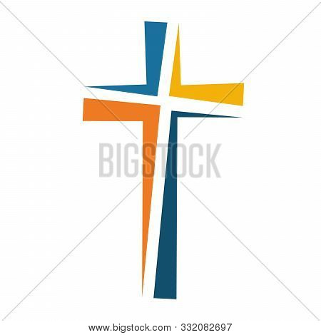 Colored Christian Cross Icon. Vector Illustration. Abstract Linear Christian Cross On White Backgrou