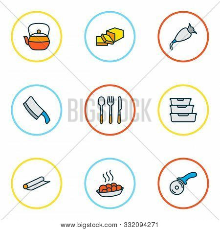 Gastronomy Icons Colored Line Set With Whipped Cream Clay, Teapot, Tin Foil And Other Storage Elemen