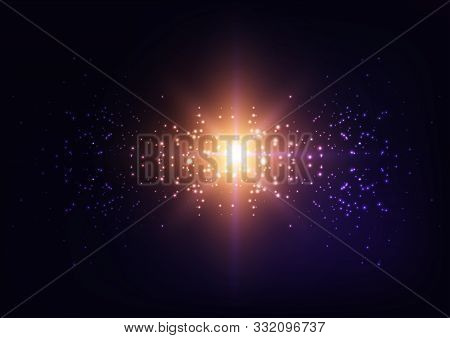 Bright Starburst Light, Star Explosion, Galaxy Lights On Starry Sky Night Dark Purple Background.
