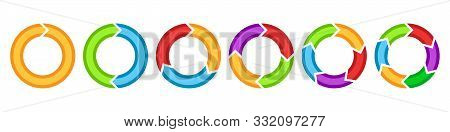 Set Of Circle Arrows For Infographic. Vector Template For Diagram, Graph Or Presentation. Circle Arr