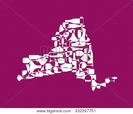 States Winemakers - Stylized Maps From Silhouettes Of Wine Bottles, Glasses And Decanters. Map Of Ne