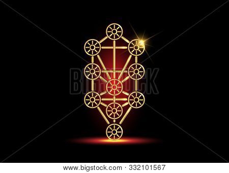Gold Kabbalah Tree Of Life Vector Icon Symbol Design. Illustration Isolated On Black Background. Lux