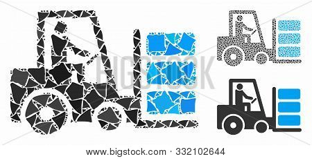 Forklift Composition Of Raggy Pieces In Different Sizes And Color Tones, Based On Forklift Icon. Vec