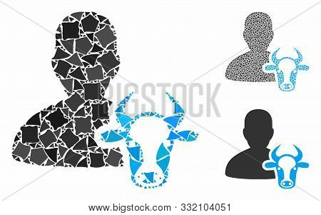 Cow Farmer Mosaic Of Unequal Items In Variable Sizes And Color Tints, Based On Cow Farmer Icon. Vect