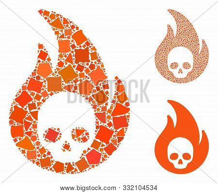Hellfire Mosaic Of Trembly Pieces In Variable Sizes And Color Hues, Based On Hellfire Icon. Vector T