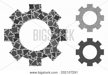 Gear Mosaic Of Bumpy Pieces In Different Sizes And Color Hues, Based On Gear Icon. Vector Bumpy Piec