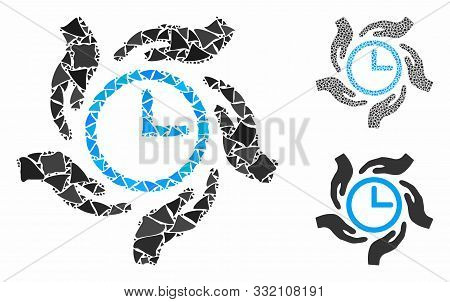Time Care Composition Of Bumpy Items In Various Sizes And Color Hues, Based On Time Care Icon. Vecto