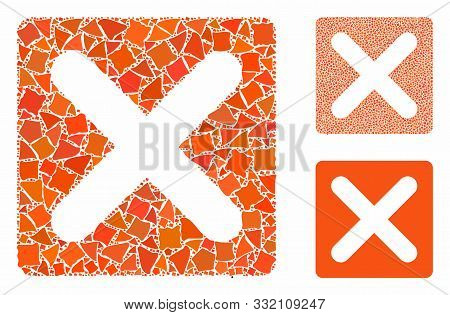 Close Mosaic Of Tremulant Elements In Various Sizes And Color Tinges, Based On Close Icon. Vector Tr