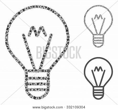 Hint Lamp Mosaic Of Tuberous Parts In Various Sizes And Color Tones, Based On Hint Lamp Icon. Vector