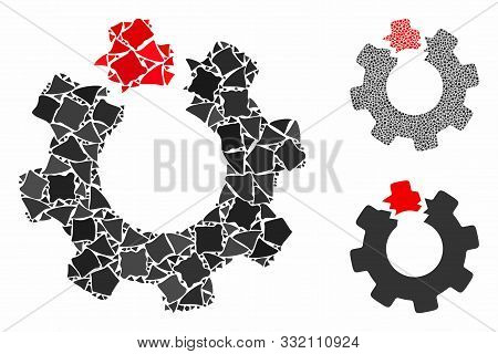 Broken Cog Mosaic Of Rough Elements In Different Sizes And Shades, Based On Broken Cog Icon. Vector