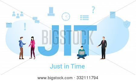 Jit Just In Time Concept With Big Word Or Text And Team People With Modern Flat Style - Vector Illus