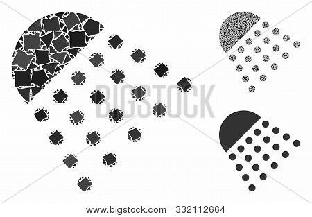 Spray Tool Mosaic Of Abrupt Pieces In Various Sizes And Color Hues, Based On Spray Tool Icon. Vector