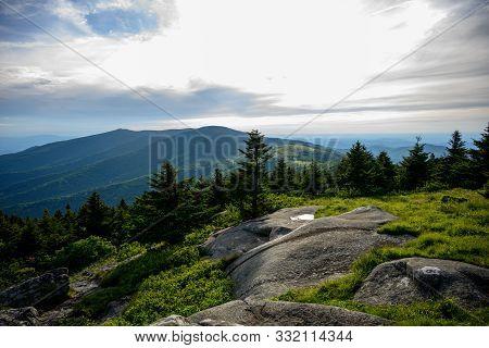 Large Sitting Rocks Overlook Jane Bald In Roan Highlands