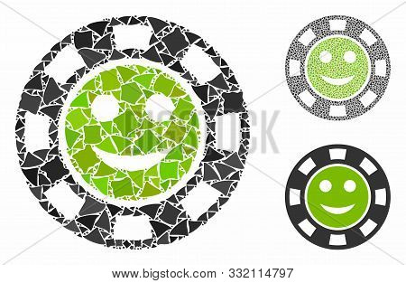 Glad Casino Chip Mosaic Of Rough Parts In Various Sizes And Color Tones, Based On Glad Casino Chip I