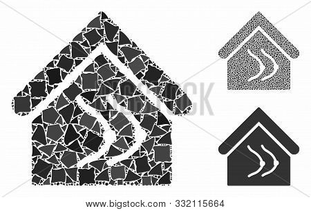 Erotics House Mosaic Of Trembly Elements In Various Sizes And Color Hues, Based On Erotics House Ico