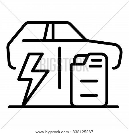 Electric Car Versus Fuel Car Icon. Outline Electric Car Versus Fuel Car Vector Icon For Web Design I