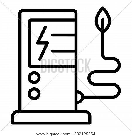 Electric Refueling Icon. Outline Electric Refueling Vector Icon For Web Design Isolated On White Bac