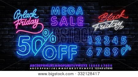 Black Friday Sale Neon Banner Vector. Black Friday Neon Sign. 50 0ff Night Neon Signboard, Night Bri