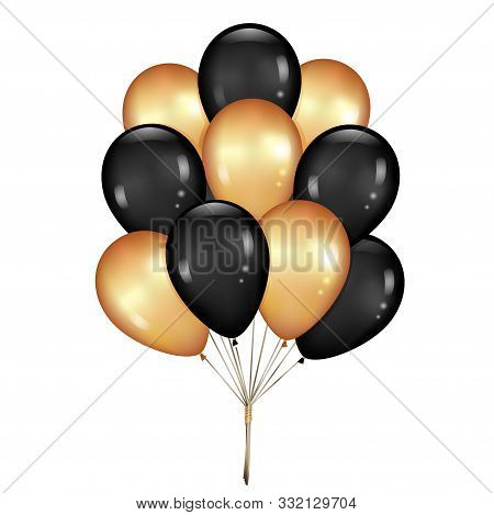 Shiny Balloons Bunch Set Isolated On White Background. Vector Illustration. Elements For Black Frida