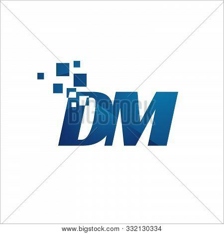 Digital Tech Initial D M Letter Logo Design Vector Graphic Concept