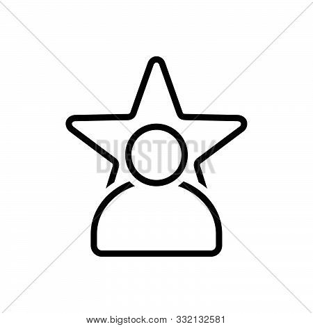 Black Line Icon For Celebrity Magnate Fame  Prominence Popularity