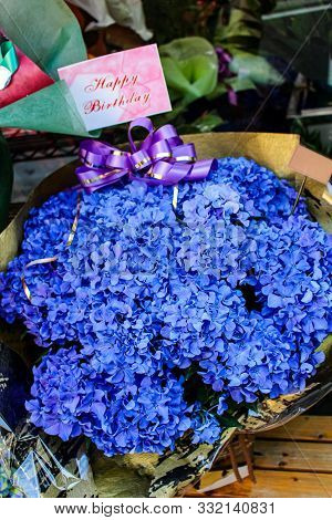 Close Up Hydrangea Banquet With Happy Birthday Card