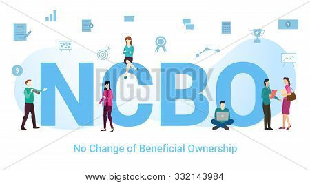 ncbo no change of beneficial ownership concept with big word or text and team people with modern flat style - vector illustration poster