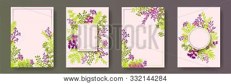 Watercolor Herb Twigs, Tree Branches, Flowers Floral Invitation Cards Set. Herbal Corners Creative C