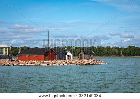 Aland Islands, Mariehamn - Finland - August 06, 2019: Yachts In Marienhamn Harbour On Aland Islands