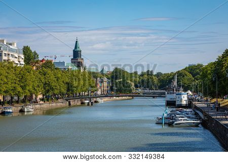Turku, Finland - August 02, 2019: View To The Aura River In Turku, Finland. Waterfront And Harbour W