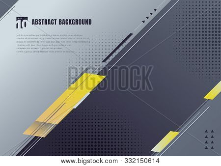 Abstract Template Geometric Diagonal Elements Background. Blue, Yellow And Black Oblique Lines And T