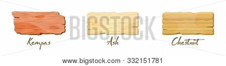 Vector Set With Wooden Texture Of Kempas, Ash, Chestnut. Custom Furniture Veneer Or Laminate Samples