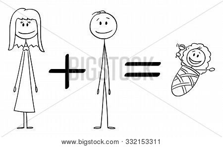 Vector Cartoon Stick Figure Drawing Conceptual Illustration Of Conceptual Formula Of Woman Plus Man
