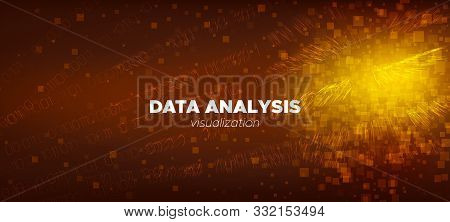 Matrix Background. Gold Vector Science Flyer. Brown Glow Technology Concept. Digital Binary Code. Ma