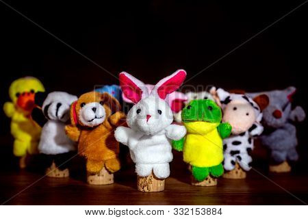 Different Animal Finger Puppets, Concept Figures For An Educater On The Preschool Or Kindergarten, C
