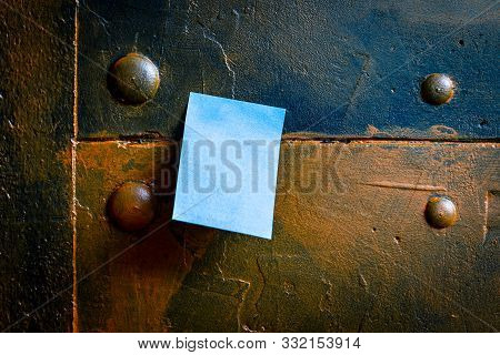 Metallic Noticeboard With A Empty Notepad Or Postit, Copyspace For Your Own Text