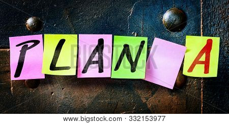Banner, Noticeboard With Notepads, Text Plan A, Concept Career, Business And Planning