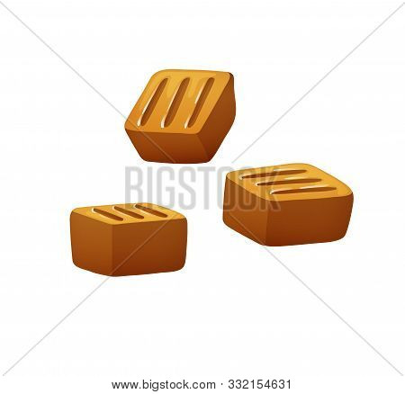 Set Of Caramel Toffee Candies, In Different Views