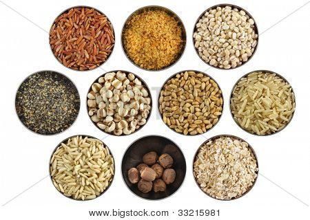 Assortment of wholesome ingredient in a stainless bowl - Red rice, Wheatgerm, Barley, Black sesame, Job's tears (Pearl barley), Wheat Berries, Half-polished and Glutinous rice, Lotus seeds, Oats poster