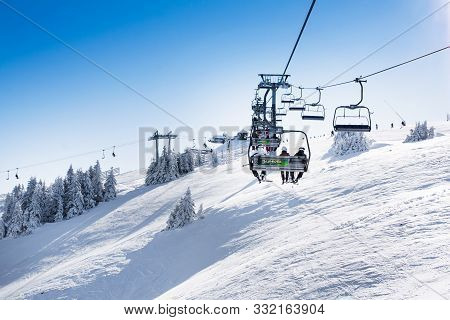Kopaonik, Serbia - January 22, 2016: Ski Resort Kopaonik, Serbia, Ski Slope, People On The Ski Lift,