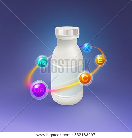 Realistic Vitamin Plastic Bottle With A Multicolored Light Circle Surrounded By Essential Vitamins A