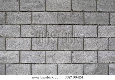 Lightweight Concrete Block Foamed Texture. Background Texture Of White Lightweight Concrete Block, R