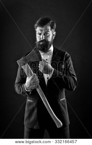 Decision Was Made. Man Brutal Hipster With Axe. Sharp Ax Hand Confident Guy. Masculinity And Brutali