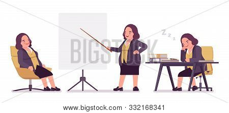 Chubby Woman In A Business Office. Overweight Middle Aged Lady, Kind Civil Service Worker. Curvy, Vo