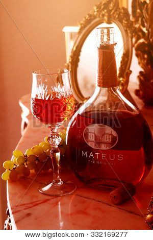 Kiev, Ukraine - August 26, 2019 : Bottle Of Wine Mateus Rose -brand Of Medium-sweet Frizzing Rose Wi
